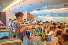 Flight attendant serve food and drinks. SINGAPORE - NOVEMBER 03, 2015: flight attendant serve food and drinks to passengers on board of Singapore Airlines Airbus Stock Image