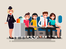 Flight attendant serving drinks to passengers. Flight attendant serving drinks to passengers on board of the aircraft. Vector illustration of a flat design Stock Images