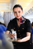Flight attendant serving people on airplane Stock Images
