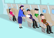 Flight Attendant Talks to a Passenger in an Aisle. Editable Clip Art. Stock Images