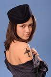 Flight attendant with tattoo Stock Image