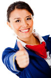 Flight attendant with thumbs up Stock Photos
