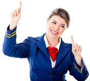 Flight attendant touching with fingers Stock Photos