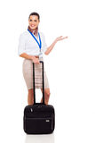 Flight attendant welcome Royalty Free Stock Image