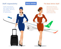 Flight attendants vector concept: stewardess in blue uniform with suitcase, stewardess in red suit and flying plane on background. Royalty Free Stock Photos