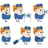 Flight attender. Vector illustration of a flight attender in different situations Stock Photo
