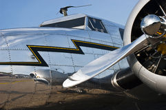 Flight, Aviation Concept, Vintage Aircraft Closeup. Nice concept for flight, aviation, and flying. Closeup detail of an old, vintage aircraft airplane provides a royalty free stock photos