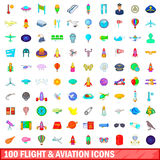 100 flight and aviation icons set, cartoon style. 100 flight and aviation icons set in cartoon style for any design vector illustration Stock Photo