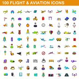 100 flight and aviation icons set, cartoon style. 100 flght and aviatioin icons set in cartoon style for any design illustration royalty free illustration