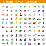 100 flight and aviation icons set, cartoon style Royalty Free Stock Photography