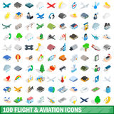 100 flight aviation icons set, isometric 3d style. 100 flight aviation icons set in isometric 3d style for any design vector illustration Royalty Free Stock Images