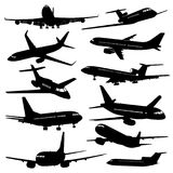 Flight aviation vector icons. Airplane black silhouettes Royalty Free Stock Images