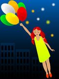 Flight on balloons. The girl sleeps and grows in a dream to it flight on balloons sees Stock Photos