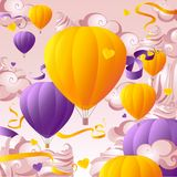 Flight balloons marshmallow cloudscape vector illustration