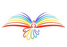 The flight of a beautiful rainbow bird, a miracle book.  stock illustration