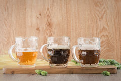Flight beer. Berr for tasting royalty free stock images
