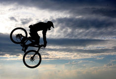 Flight on a bicycle Royalty Free Stock Images