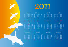 Flight of a bird. Calendar 2011 Royalty Free Stock Image