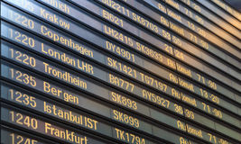Flight board in Arlanda airport Stock Photo