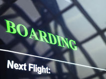 Flight Boarding information Signage at the Airport Stock Images