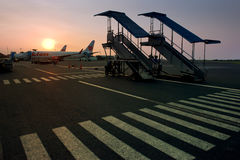 Flight boarding at sunset Royalty Free Stock Photography