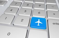 Flight Booking Button. Blue Flight Booking Button on the Computer Keyboard. Flight / Travel Online Booking System. Traveling Illustration Royalty Free Stock Photography