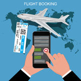 Flight booking concept, vector illustration Stock Photography