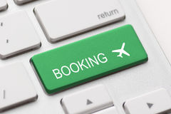 Flight booking keyboard plane travel fly check buy Royalty Free Stock Photos