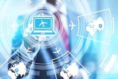 Flight booking online. Booking online flights concept pointing finger stock illustration