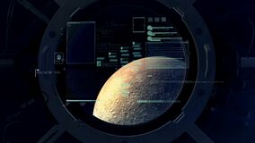 Flight calculations on the background of the moon in the porthole.