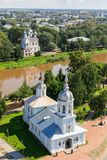 Flight of the camera over Saint Sophia orthodox cathedral and church of Resurrection of Jesus in a sunny summer day in. Alexander Nevsky church, Saint Sophia royalty free stock images