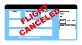 Flight canceled plane ticket Stock Photography