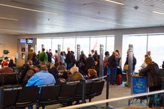 Flight Cancellation Southwest Airlines. Portland, Oregon, USA - January 27, 2014: Travelers line up to get their flight rescheduled for a Southwest Airlines Stock Photo