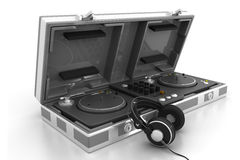 Flight Case and turntable with headphone Royalty Free Stock Photos