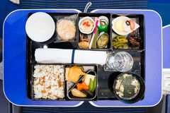 In-flight catering. On the plane Stock Images