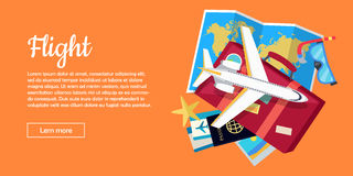 Flight Conceptual Flat Style Vector Web Banner Royalty Free Stock Photo