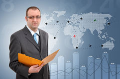 Flight Control. Manager controlling flights of aeroplanes around the world Stock Photo