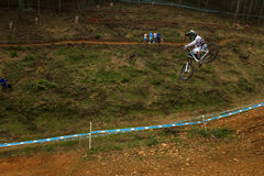 Flight Control Downhill Racer MTB Royalty Free Stock Photo