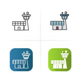 Flight control tower icon. Flat design, linear color styles. Isolated vector illustrations. Stock Photo