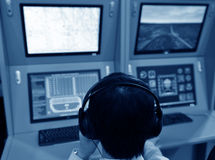 Flight controller. Working in the flight control tower Royalty Free Stock Photography
