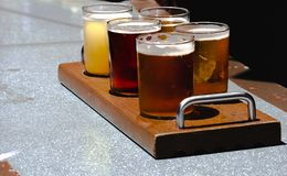Flight of craft beers on a hot summer day stock photography