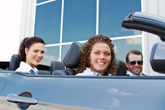 Flight crew arrive in convertible Stock Photography
