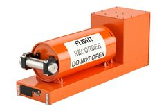 Flight data recorder known as black box, 3D rendering. Isolated on white background Stock Photography