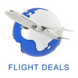 Flight Deals Represents Dealings Sale And Transportation 3d Rendering Stock Photo