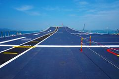 Flight deck of an aircraft carrier Stock Photos