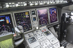 Flight deck. Of modern hi-tech airplane Royalty Free Stock Images