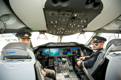 Flight Deck of Qatar Airways' Dreamliner at Singapore Airshow 2014 Stock Photography