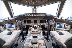 Flight deck in regular airplane Stock Photography