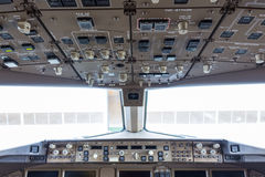 Flight deck in regular airplane. Stock Photo