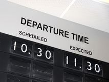Flight delay. Information board at airport with flight delay Royalty Free Stock Photos
